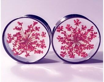24mm Orange lace flower plugs! silver tunnels, girly plugs, lace flowers.