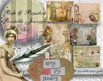 Pride and Prejudice  Digital Paper Pack  Jane Austen Journal  Printable Journal Kit  Junk Journal Kit  Printable journal pages  mini album