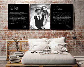 Wedding Vows Photo gifts wedding photo Wedding Vows on canvas wedding vow art 1st anniversary gift Gift for him wedding photography