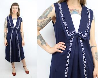 Vintage 50's 60's Navy Blue Sailor Shift Dress / 1960's Teena Paige Linen Dress / Nautical / Flapper Inspired / Women's Size Medium Large
