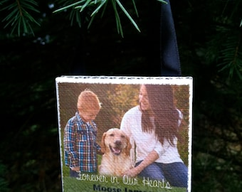 Ornament -  PET Personalized Photo Ornament on Canvas - Pet Memorial, Beloved Pet, Dog, Family Pet, Pet Sympathy