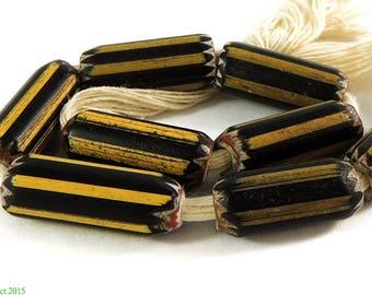 8 Yellow Jacket Chevron Venetian Trade Beads Africa 98212