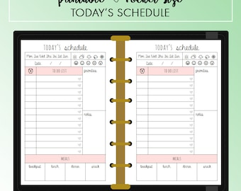 POCKET Today's Schedule Daily Planner Insert Printable | Fits Kikki K Small & Filofax Pocket Instant Download