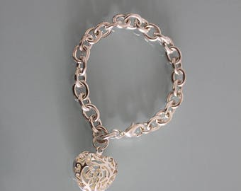 Heavy Sterling Silver Chain Bracelet, Silver Heart Bracelet