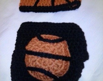 Crochet basketball diaper set, basketball diaper set, baby basketball outfit, newborn basketball photo prop, basketball baby set, basketball