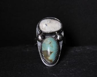 READY TO SHIP - Pilot Mountain x White Buffalo Turquoise Sterling Silver Ring | Size 7.5 | Minimalist Boho Bohemian | Gugma Jewelry