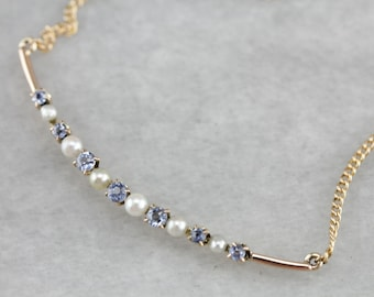 Sapphire Pearl Crescent Moon Necklace A4EY4XLV-C