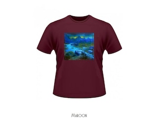 mysterious t-shirt with oil painting // dark river or any other painting // artistic apparel // impressionism expressionism art skyrim