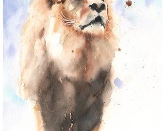 LION PAINTING ORIGINAL - watercolor lion king, lion original art, original wildlife painting, wildlife art, original animal painting