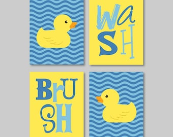 Kids Bathroom Art - Kids Bathroom Decor - Rubber Ducky Bathroom Art - Rubber Duck Bath Art - Cobalt Blue Yellow - You Pick the Size (NS-338)