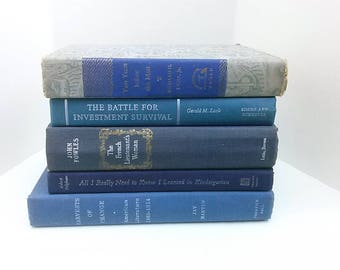 Decorative Vintage Book Stack, Blue Books Bundle for Decorating Collection of 5 Decorative Hardcover Books Home Office Interior Design Decor