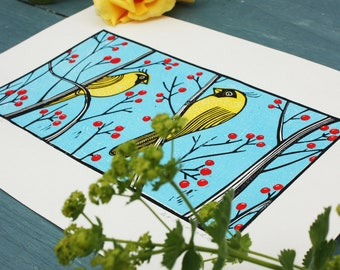 Yellow Cardinals, by Kat Lendacka, Original Linocut Print, Signed Open Edition, Free Postage in UK, Hand Pulled, Printmaking, Linoprint