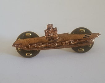 Vintage US Navy Aircraft Carrier hat pin, copper tone with double clutch back fastener, naval aviation.