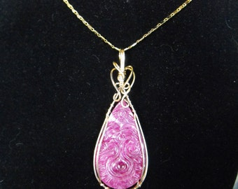 Ruby Pendant, Gift for Her, Gold filled wire wrap, Carved Ruby Stone