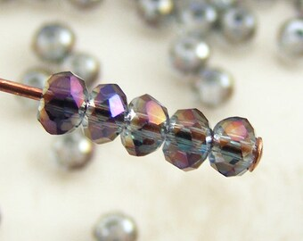 3x2mm Faceted Rondelles Crystal Beads Heliotrope AB (Qty 25) Z-3x2R-HTAB