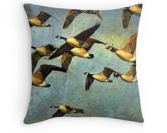 Bird Decor, Canada Goose Cushion, Canadian Seller, Blue Yellow Pillow, Bird Pillow Cover, Gift for Birder, Bird Photo Cushion