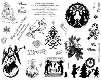 "CHRISTMAS rubber stamp sheet 8 1/2"" x 11"", angel, pine cones, children silhouettes, bible verses, cardinal, candy cane, winter holiday No.7"