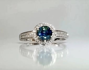 1.14 ctw Sapphire & Diamond Engagement Ring in 14K White Gold / Natural Blue Green Halo Sapphire See Video! / De Luna Gems / Free Shipping!