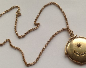 SALE! Gold Filled Victorian Crescent Moon and Star Locket & Chain