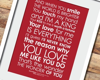 I wanna dance lyrics print with personalised message fans of elvis the wonder of you lyrics print option to add personalised stopboris Image collections