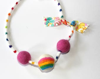 Cheer Bear Inspired Felted wool Ball Necklace