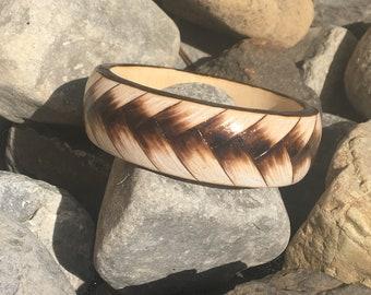 Wood bangle burned with braided design