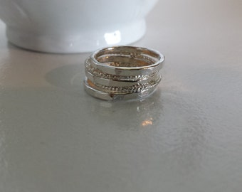 Sterling Silver  Stack Rings - Hammered and Starburst, Set of 5