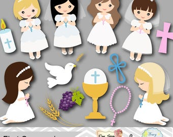 Instant Download Girls First Communion Clip Art, First Communion Clipart, First Communion Girls Digital Clipart First Communion Clipart 0189