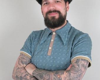 Vintage style polo shirt with spearpoint collar, petrol blue shirt, 1930's style polo shirt, vintage style sportswear, retro men's shirt