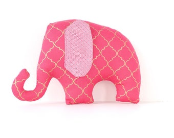 MakeForGood Elephant soft toy / plush toy for baby in pink and gold geometric pattern.