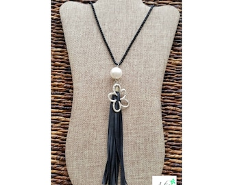 Pearl and black leather tassle necklace