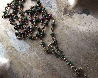 Ruby in zoisite (Anyolite)  rosary necklace in bronze finish