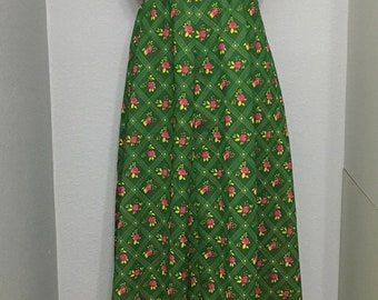 Vintage GREEN And Pink FLORAL Maxi Dress / 60s Sleeveless Pink Floral Dress / Handmade Dress / Empire Waist / Womens Large