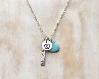Silver New Mom Charm Necklace, Push Present - Rustic Name Tag, Baby Feet Mini Disc, Enamel Heart Charm in Birthstone Color PERSONALIZED