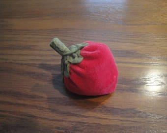 Velvet Strawberry Pincushion, Handmade Emery Pin Keep, Red Strawberry bowl filler, Sewing Pincushion, Pin Holder