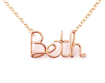 Custom Rose Gold Name Necklace. Personalized 14k Rose Gold Filled Name Necklace
