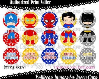 "SALE Printed - Precut: Superhero 3 Piece ORNAMENTS - 1"" bottle cap designs - bottle cap crafts - bottle cap ornaments"