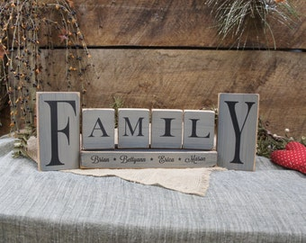 Family Block Set Custom with names- 7 Pieces All Wood Rustic Style Laser Engraved no vinyl or stenciling Personalized for special touch