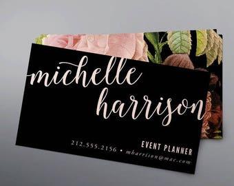 Printable Floral Business Card - Printable Calling Card - Digital File - DIY
