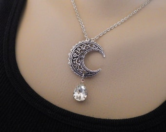 Silver Crescent Moon ~ Pendant ~ Crystal Moon ~ Silver Moon ~ Necklace ~ Vintage Glass ~  by LadyofTheLakeJewels