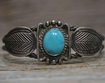 Vintage Zuni Fred Weekoty Native American Sterling Silver Cuff Bracelet