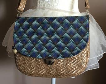 Geometric print leather Messenger bag
