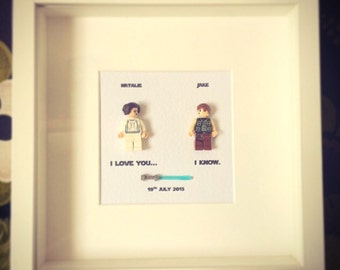 I love you... I know Star Wars Princess Leia and Han Solo Personalised Wall Art Box Frame Picture Engagement or Wedding Gift