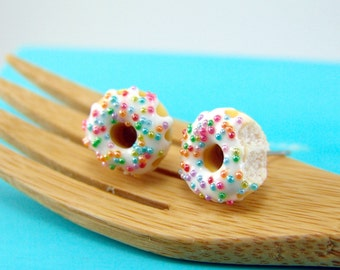 Donut Earrings with Rainbow Sprinkles and Vanilla Bean Icing // MADE TO ORDER // Post or Clip On Earrings