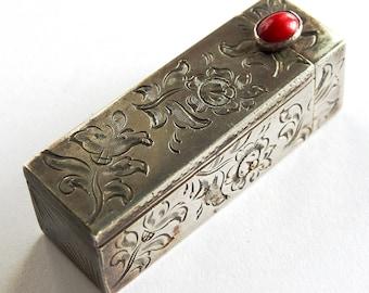 Antique Silver Lipstick Holder