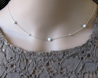 Opal necklace, opal ball necklace, opal silver necklace, opal jewelry, tiny dot necklace, opal bead necklace, fire opal, white opal