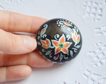 black pin paint brooch womens gift for her Gothic style blac |and white Flower Jewelry eco friendly Jewelry handmade Brooch ethnic wood pin