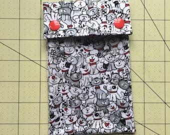 Cat print circilar knitting needle case - needle pouch - needle storage - pen pouch - pen case