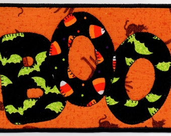 Boo, A Halloween Appliqued Quilted Fabric Postcard