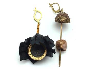 Asymmetrical pendant earrings brass recycling art